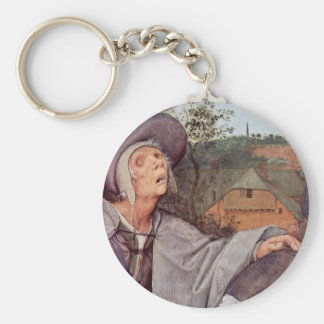 The Parable Of The Blind Men Detail By Bruegel D. Basic Round Button Keychain