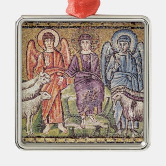The Parable of the Good Shepherd Square Metal Christmas Ornament