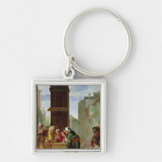The Parable of the Precious Pearl Silver-Colored Square Keychain