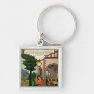 The Parable of the Prodigal Son Silver-Colored Square Keychain