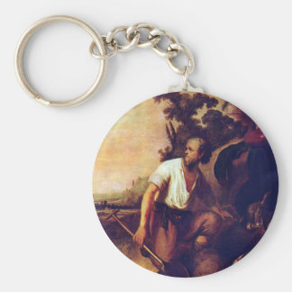 The parable of the treasure graves basic round button keychain