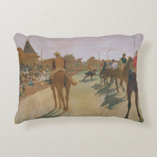 The Parade, or Race Horses in front of the Stands Decorative Pillow