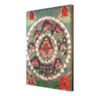 The Paradise of Shambhala Tibetan Banner Stretched Canvas Print