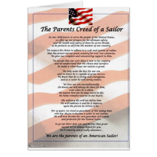 The Parents Creed of a Sailor Greeting Card
