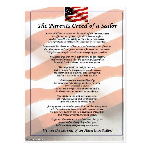 The Parents Creed of a Sailor Postcard