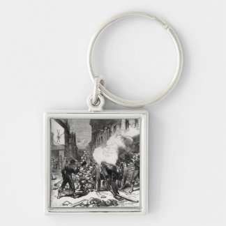 The Paris Commune: A Barricade at Issy Silver-Colored Square Keychain