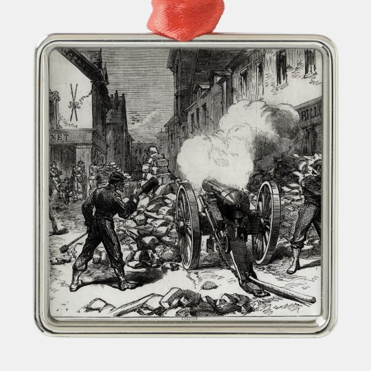 The Paris Commune: A Barricade at Issy Metal Ornament