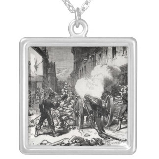 The Paris Commune: A Barricade at Issy Square Pendant Necklace