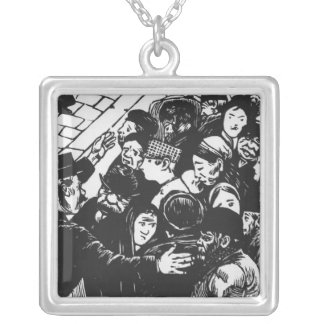 The Paris crowd, 1892 Silver Plated Necklace