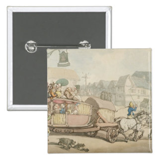 The Paris Diligence (pen & ink and w/c on paper) Pinback Buttons