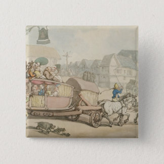 The Paris Diligence (pen & ink and w/c on paper) Pinback Button