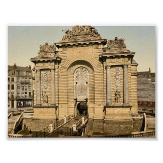 The Paris Gate, Lille, France classic Photochrom Print