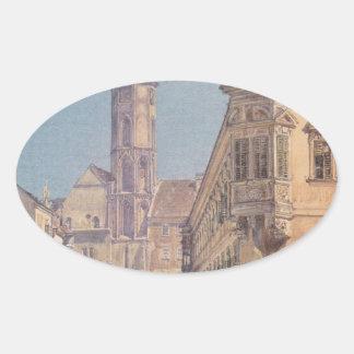 The parish church in Ofen by Rudolf von Alt Oval Sticker