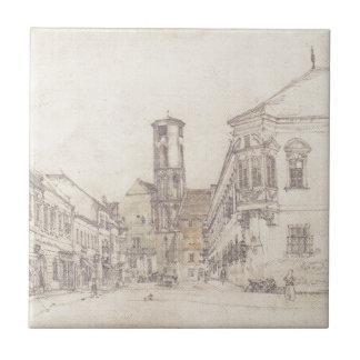 The parish church in Ofen by Rudolf von Alt Tile