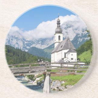 The parish church of Ramsau in Bavaria, Germany Drink Coaster