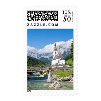 The parish church of Ramsau in Bavaria, Germany Postage