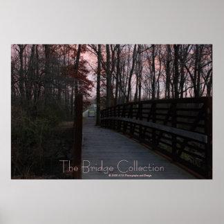The park wood bridge at sunset poster