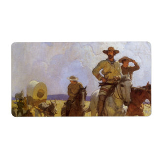 The Parkman Outfit by NC Wyeth Vintage Cowboys Shipping Label