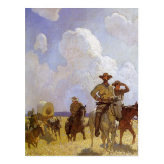 The Parkman Outfit by NC Wyeth Vintage Cowboys Post Cards
