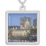 The Parliament Buliding lit up at the inner Square Pendant Necklace