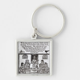 The Parliament of Women, 1656 Silver-Colored Square Keychain