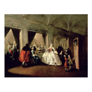 The Parlour of the San Zaccaria Convent (oil on ca Postcard