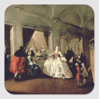 The Parlour of the San Zaccaria Convent (oil on ca Square Stickers