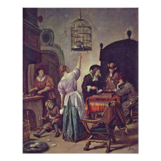 The parrot cage by Jan Havickszoon Steen Print