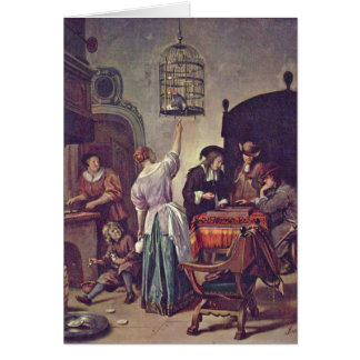 The Parrot Cage By Jan Steen Greeting Card