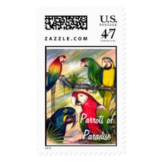 The Parrots of Paradise Original Art Postage Stamp