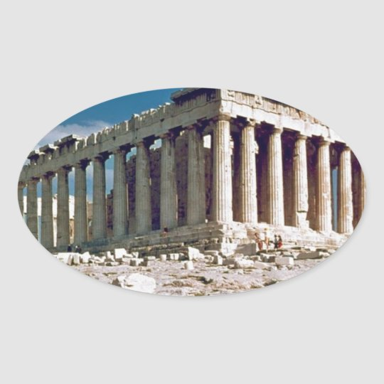 The--Parthenon--in--Athens--Angie.jpg Oval Sticker