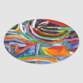 """The Paseo"" Synesthesia Painting Oval Sticker"