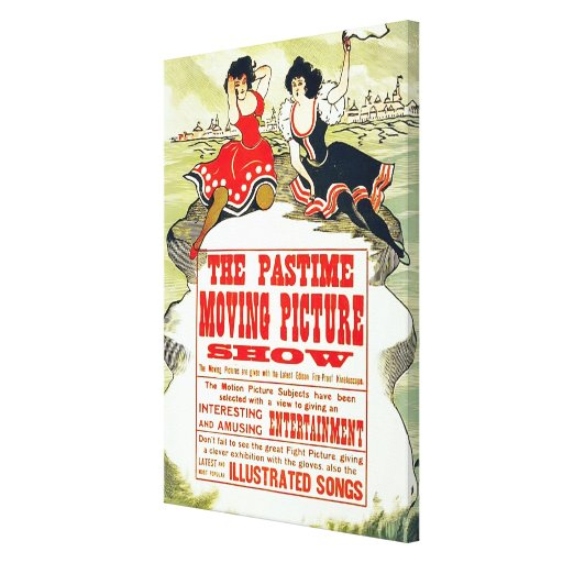 The Pastime Moving Picture Show ~ Vintage Ad Gallery Wrapped Canvas