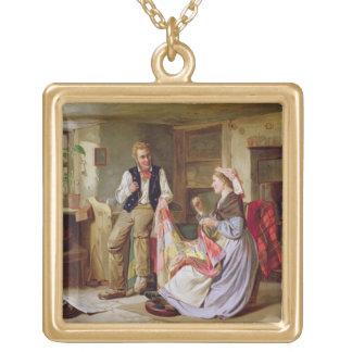 The Patchwork Quilt Square Pendant Necklace