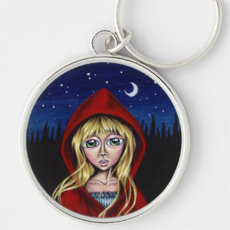 The Path Of Needles Or Pins Red Riding Hood Keycha Silver-Colored Round Keychain