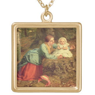 The Path Where The Brown Leaves Are Spread, 1862 ( Square Pendant Necklace