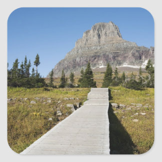 The pathway to the view of Hidden Lake Square Sticker