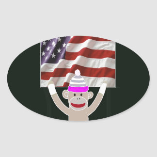 The Patriot Monkey Oval Stickers