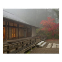 The pavilion at the Portland Japanese Garden Poster