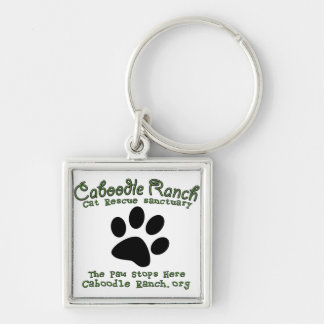 'The Paw Stops Here' Silver-Colored Square Keychain