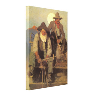 The Pay Stage by NC Wyeth Vintage Cowboys Canvas Print