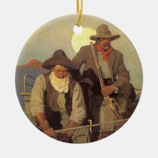 The Pay Stage by NC Wyeth, Vintage Cowboys Ceramic Ornament