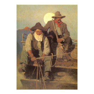 The Pay Stage by NC Wyeth Vintage Cowboys Personalized Announcements