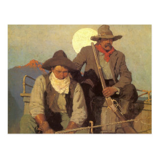 The Pay Stage by NC Wyeth, Vintage Cowboys Postcard