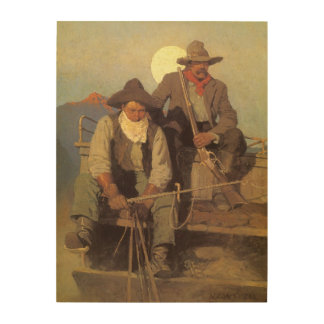 The Pay Stage by NC Wyeth Vintage Cowboys Wood Canvas