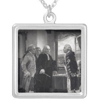 The Peace Conference on Staten Island Square Pendant Necklace