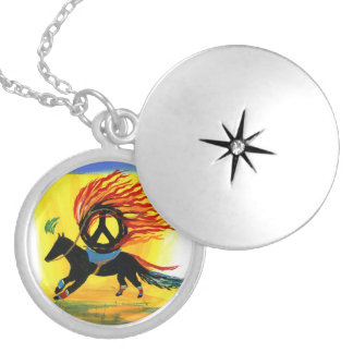 The Peace Horse Round Locket Necklace
