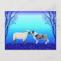 """The Peace Tree"" Border Collie Postcard~Christmas Holiday Postcard"