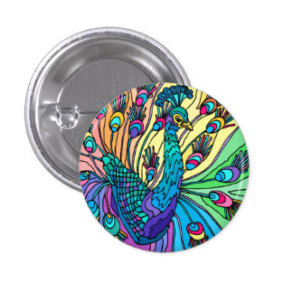 The Peacock Shows Its Feathers Buttons