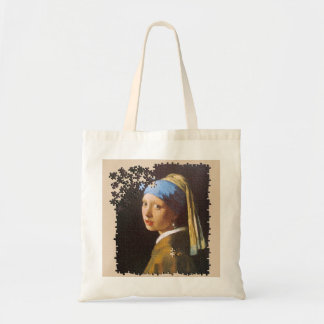 The Pearl Earring puzzle Budget Tote Bag